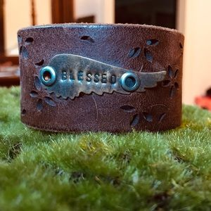 Jewelry - 100% leather bracelet cuff embossed blessed wing